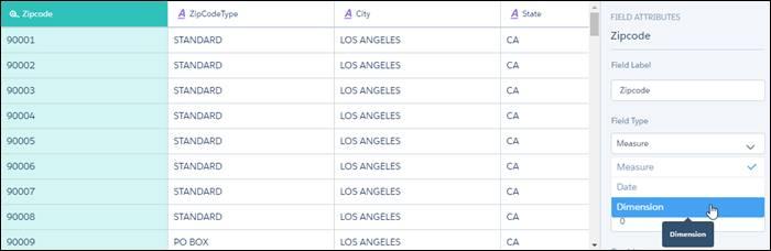 データプレビュー画面で、郵便番号をディメンション型に設定します。
