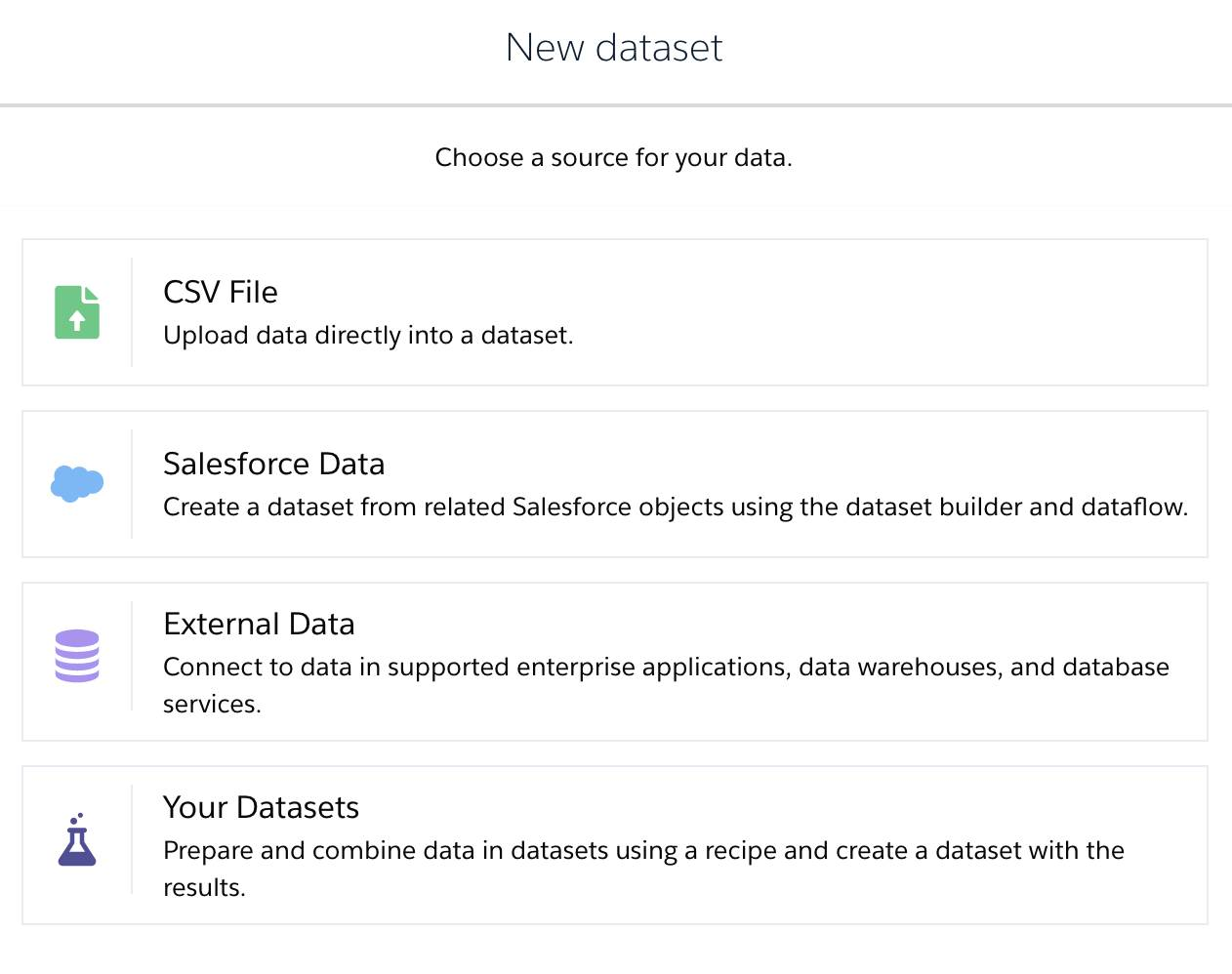 Select a data source for creating a dataset