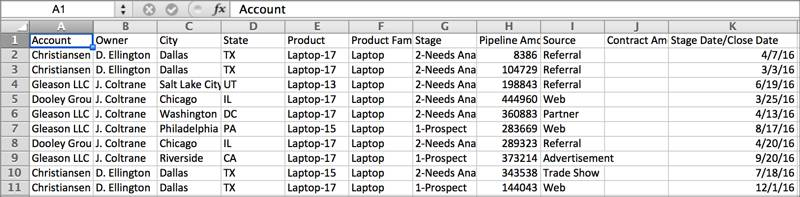 A traditional spreadsheet with columns and rows of data