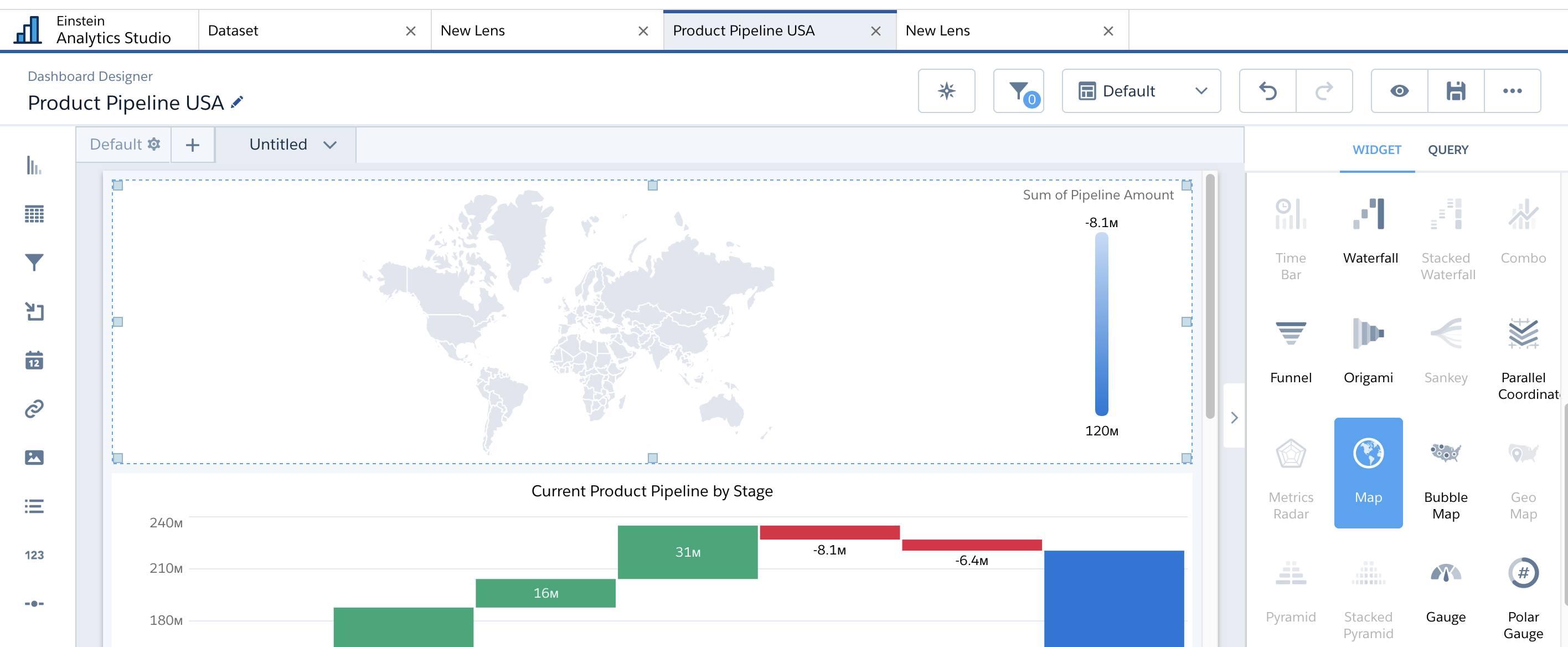 World map chart in dashboard designer