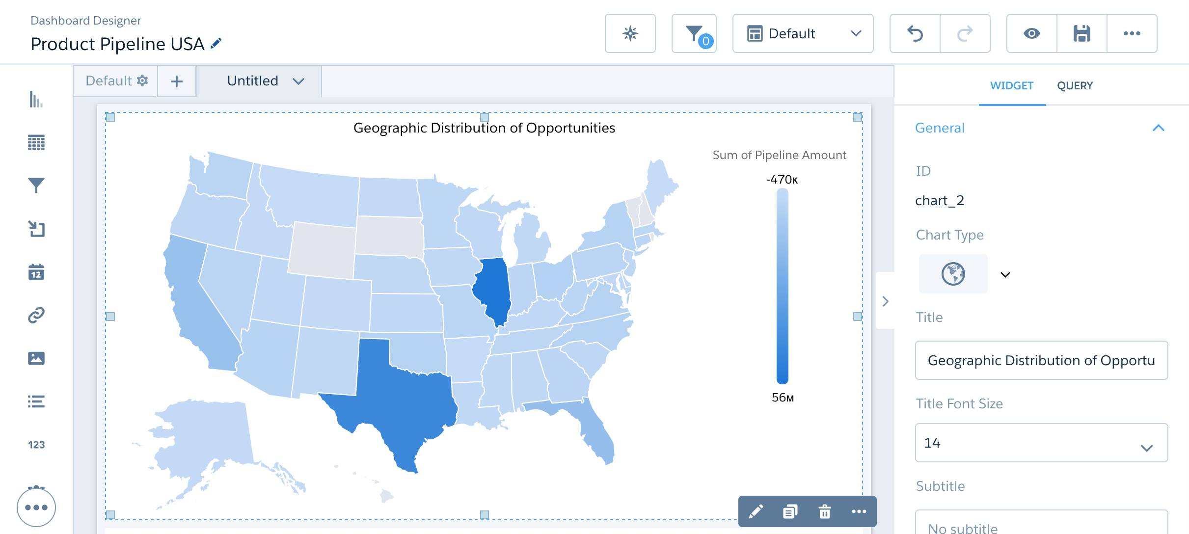 United States map chart with title in dashboard designer
