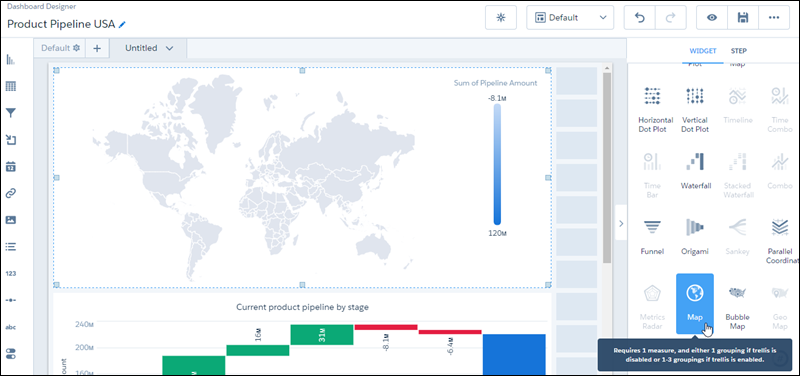 World map chart in dashboard designer