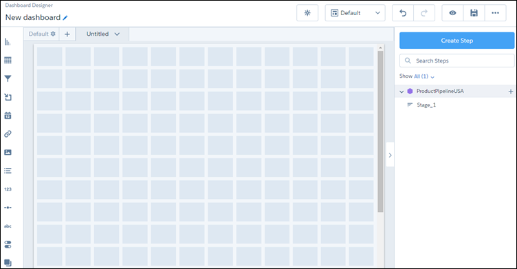 Step clipped to dashboard designer
