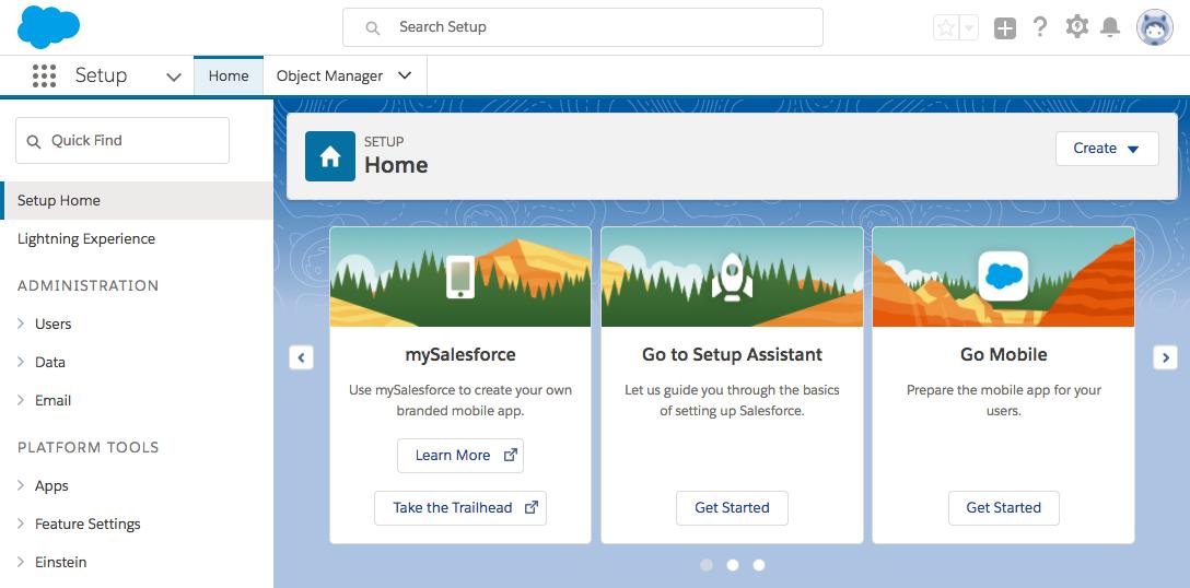 Screenshot of the Setup Home page.