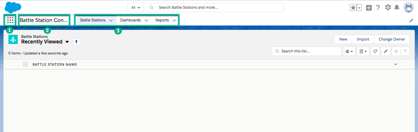 Screenshot of the Battle Stations tab showing all recently viewed records. The App Lancher, App name and Navgation menu are highlighted.