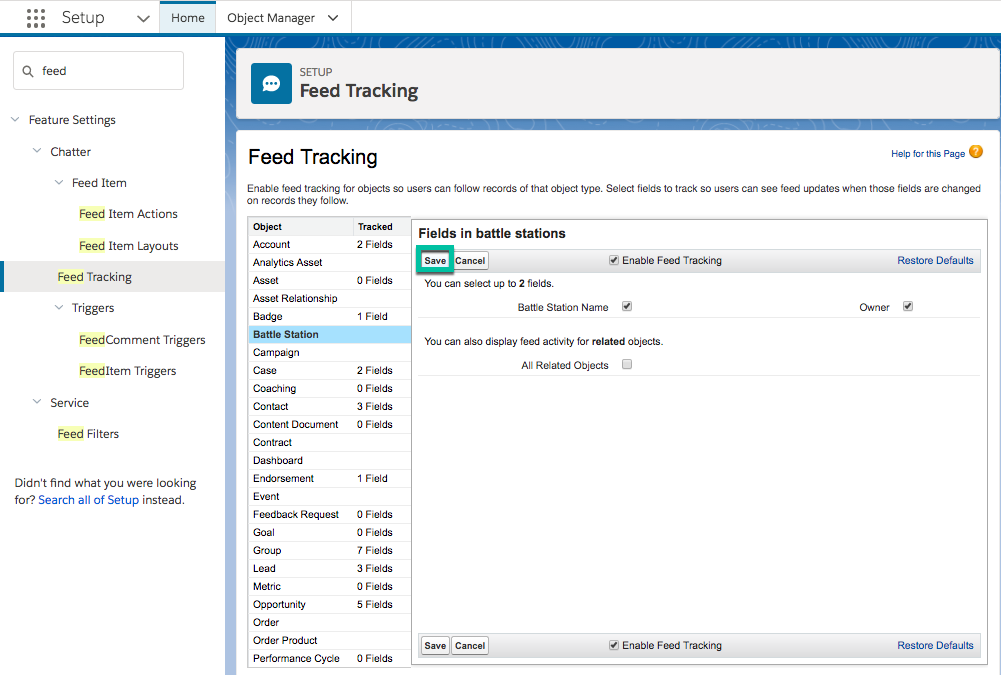 Screenshot of the Feed Tracking page available through Setup, highlighting the Save button.