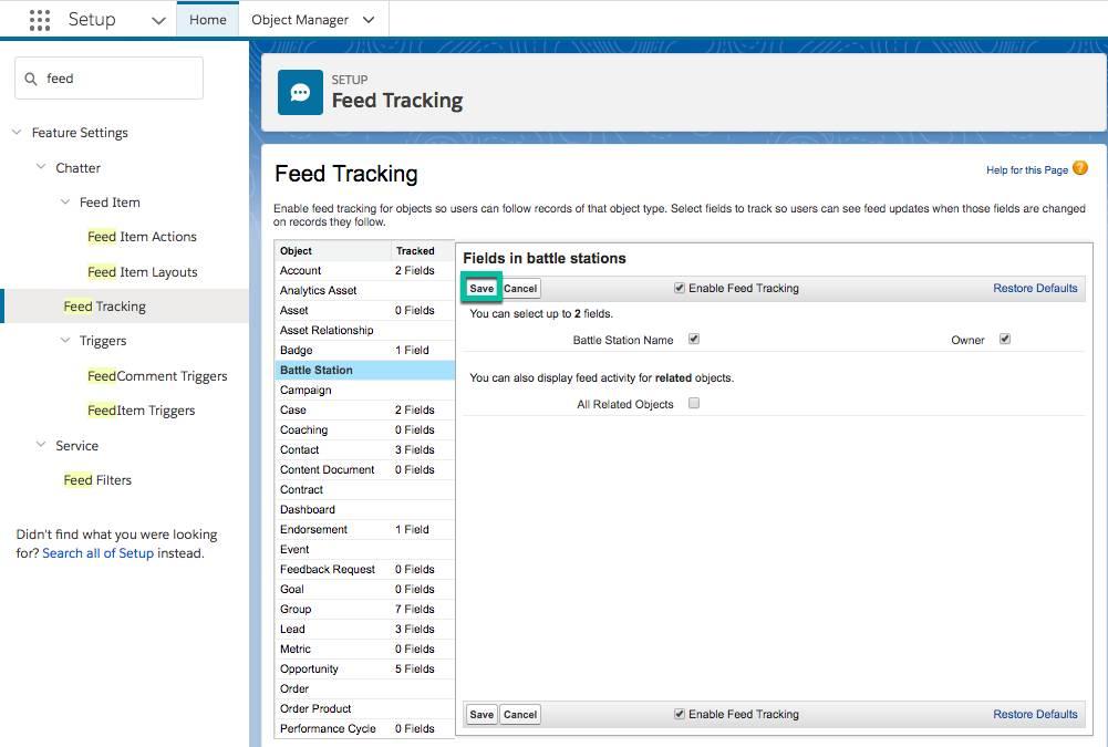 [Setup (設定)] からアクセスできる [Feed Tracking (フィード追跡)] ページのスクリーンショット。[Save (保存)] ボタンが強調表示されています。