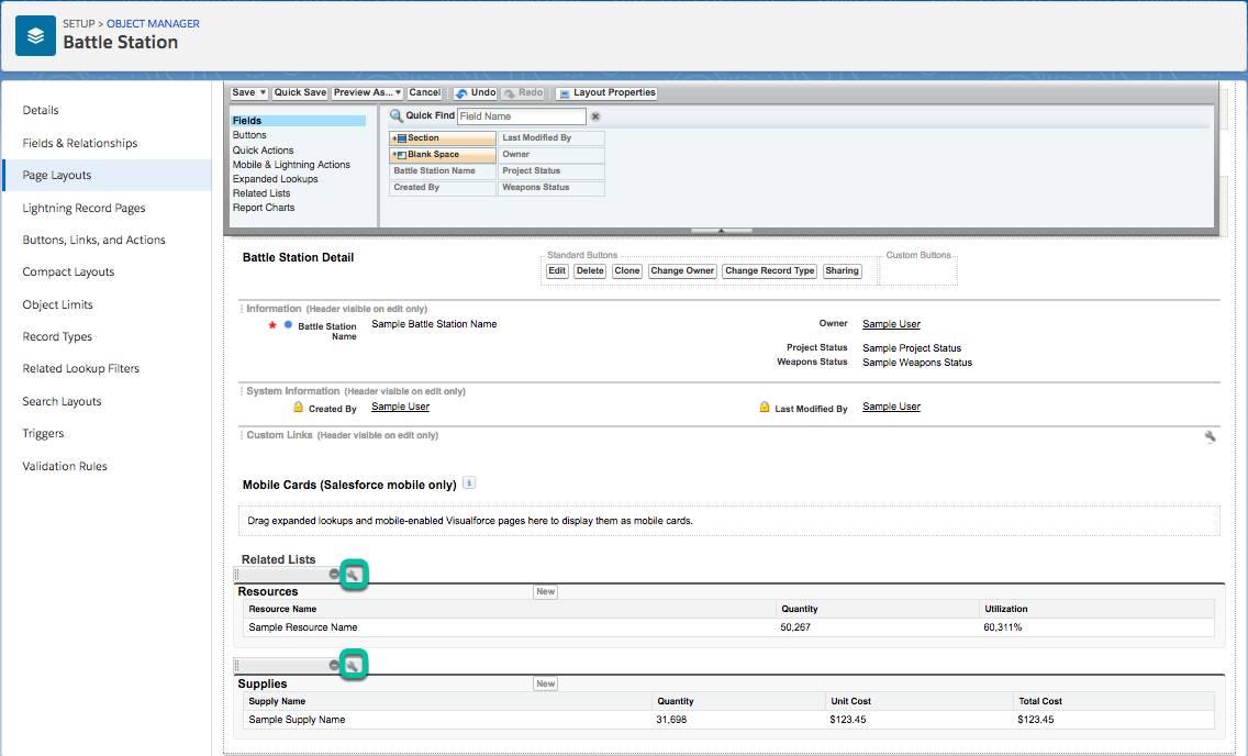 Battle Station オブジェクトの関連リストを変更するには、オブジェクトマネージャの [Page Layouts (ページレイアウト)] タブを使用します。
