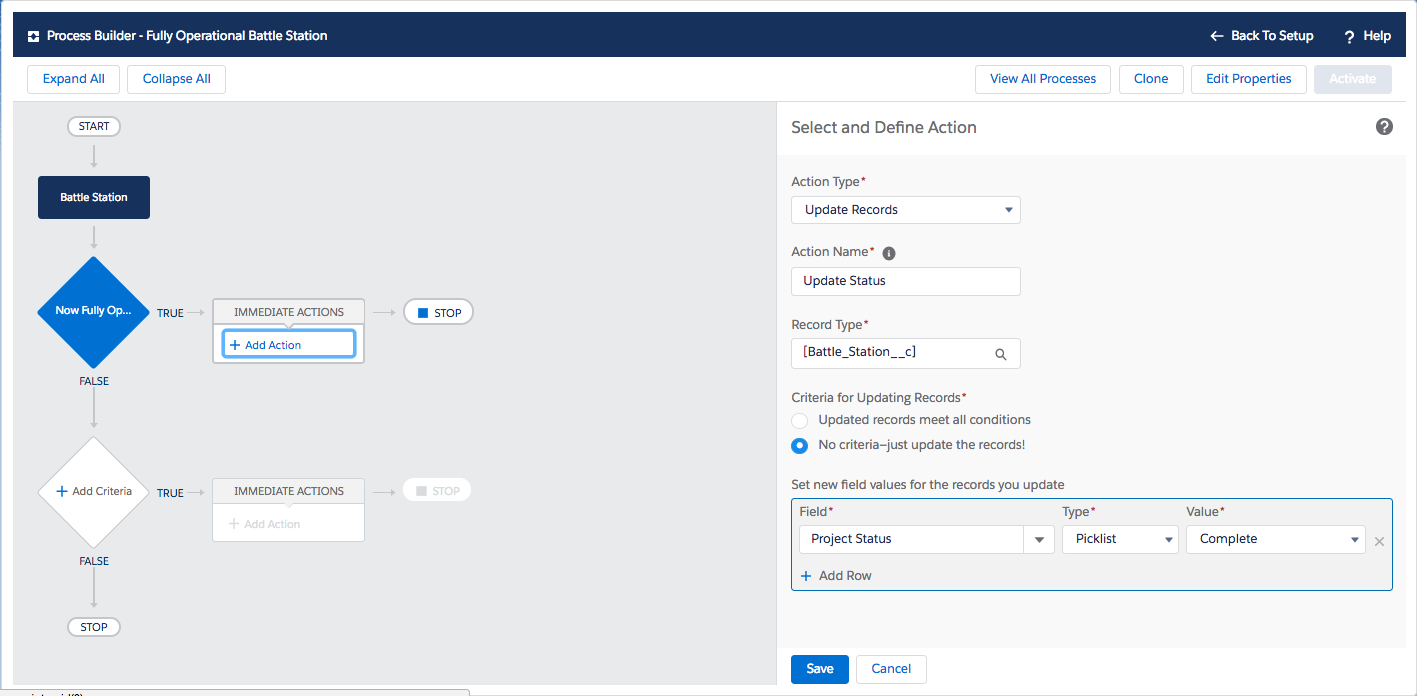 Process Builder is used to select and define an Update Records action when the project status is complete.