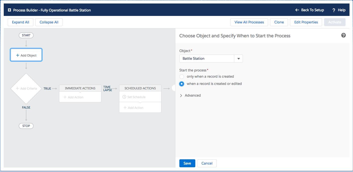 Process Builder se utiliza para seleccionar el objeto Estación galáctica de combate y especificar dónde iniciar el proceso.