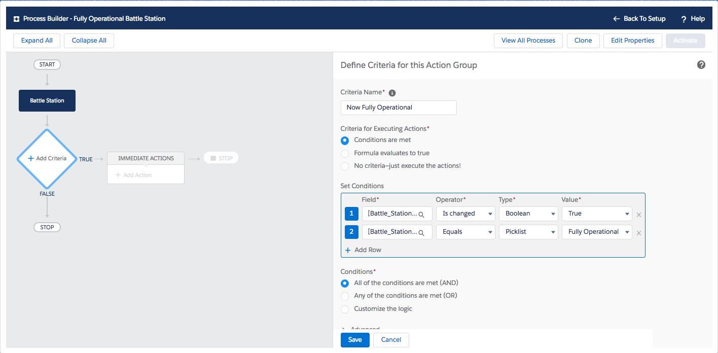 [Now Fully Operational (現在完全稼働状態)] アクショングループの条件を定義するには、プロセスビルダーを使用します。