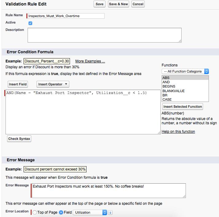 エラー条件数式を指定するには、[Validation Rule Edit (入力規則の編集)] ページを使用します。