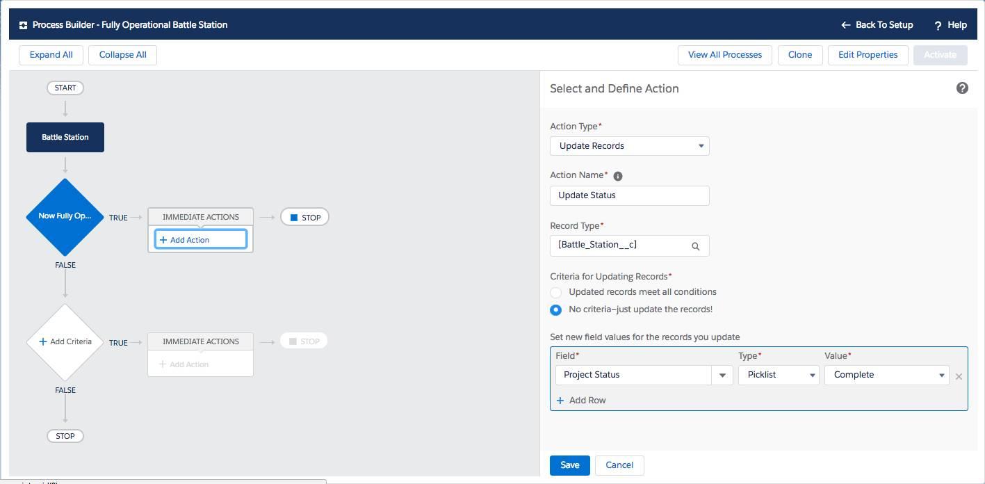 O Process Builder é usado para selecionar e definir uma ação de atualizar registros quando o status do projeto for concluído.