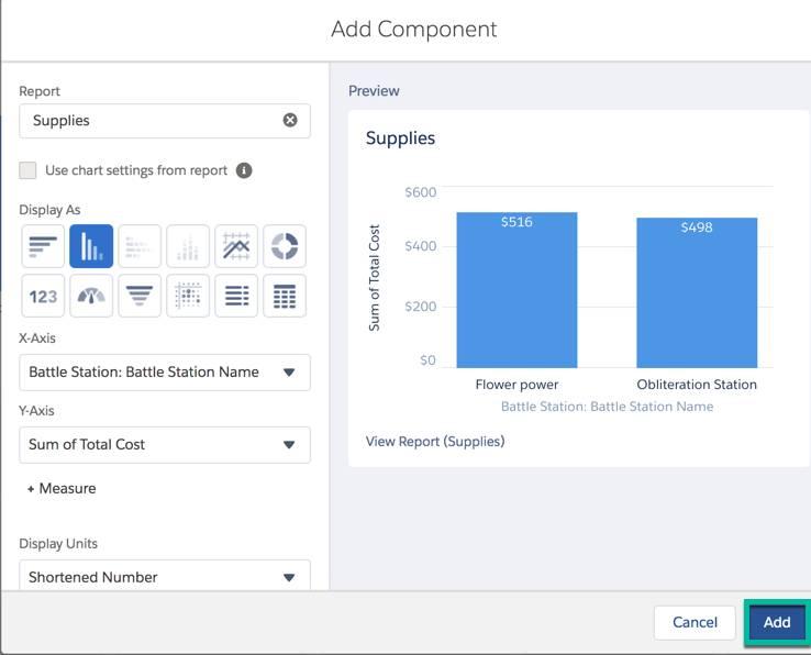 La página Agregar componente se muestra cuando se crea un nuevo tablero. Esta página le permite seleccionar el reporte para mostrar y luego realiza una vista previa del resultado.