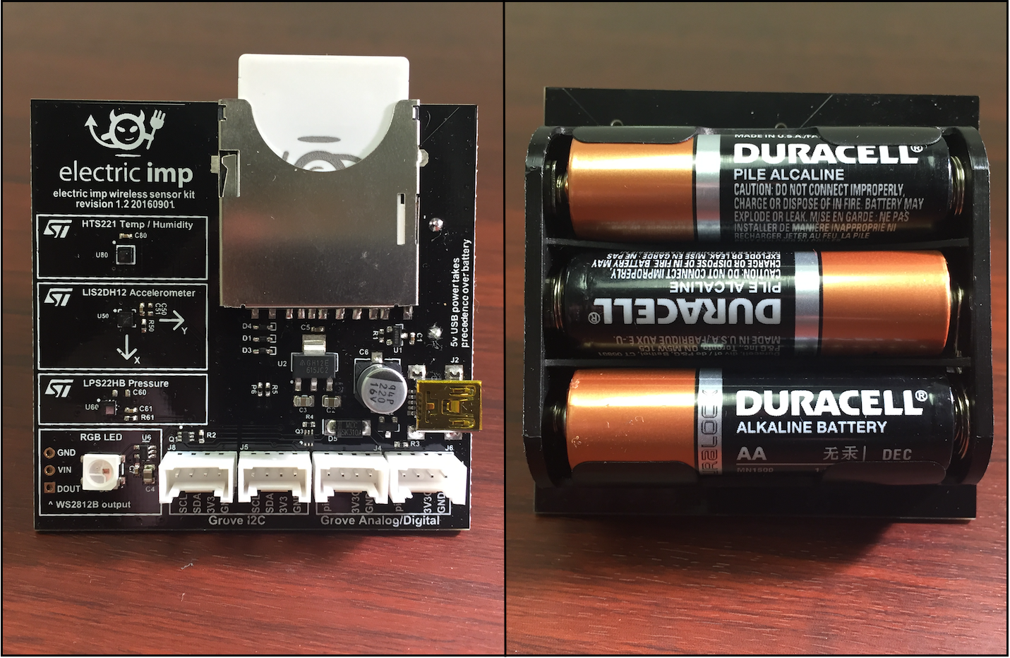 Assembled impExplorer Kit: the imp001 card in place (left) and the three AA batteries in the underside bay (right)