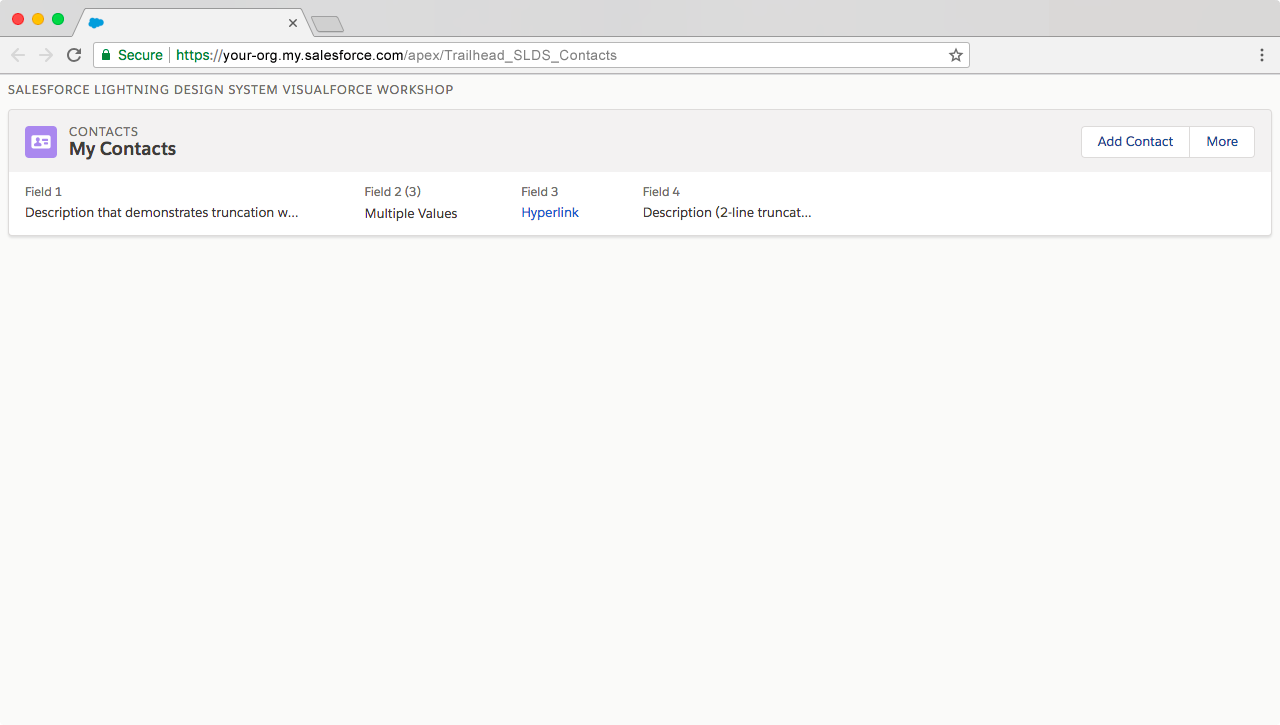 Preview of Visualforce page after adding detail row to page header