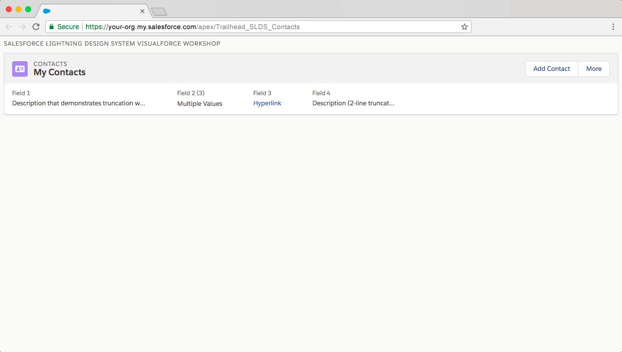 詳細行をページヘッダーに追加後の Visualforce ページのプレビュー