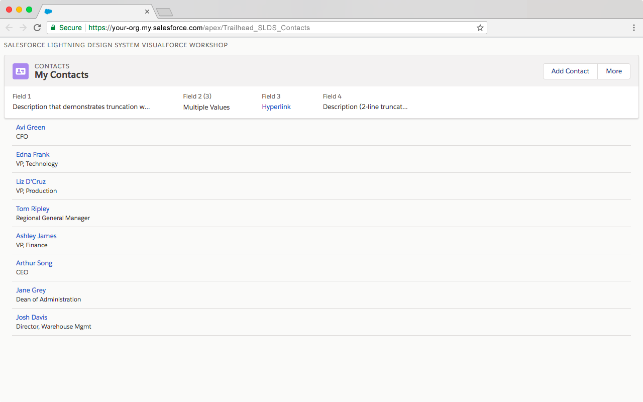 取引先責任者のタイルを追加後の Visualforce ページのプレビュー