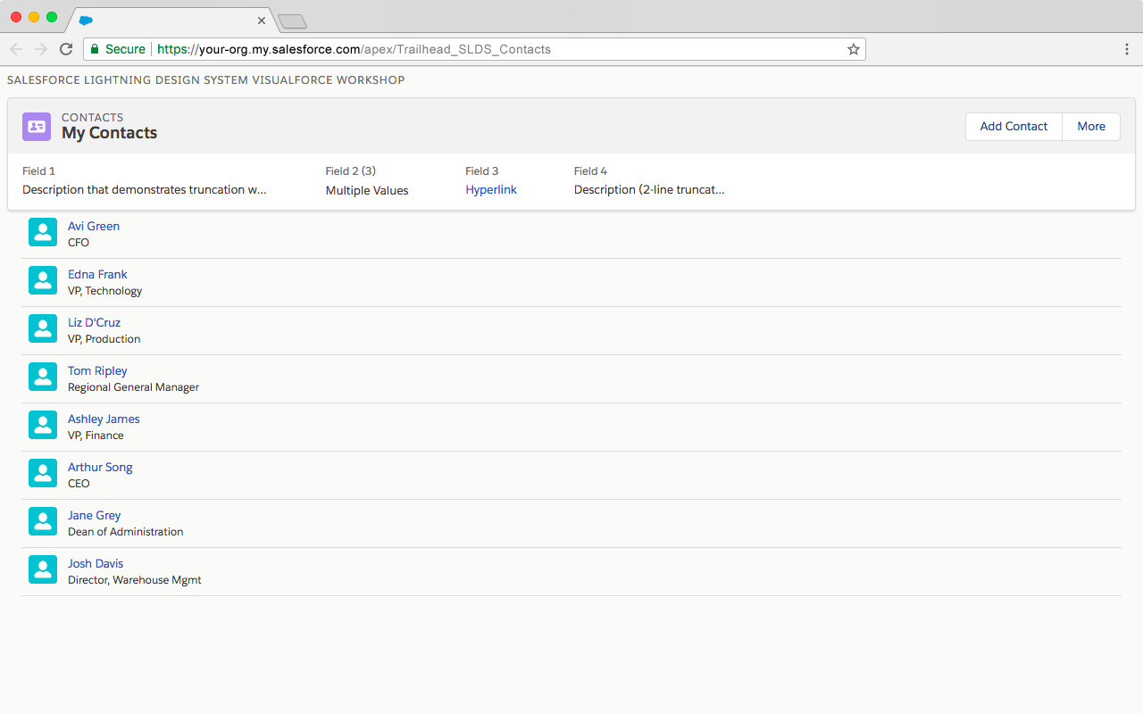 Preview of Visualforce page after adding icon to each contact