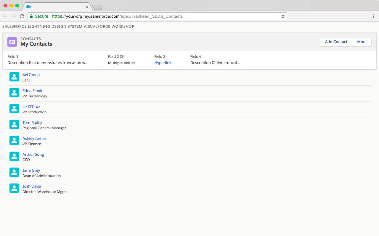 アイコンを各取引先責任者に追加後の Visualforce ページのプレビュー