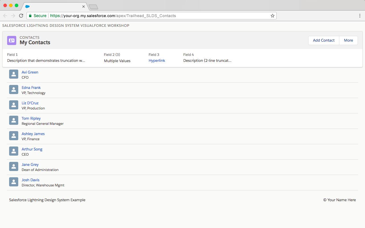 ページフッターを追加後の Visualforce ページのプレビュー