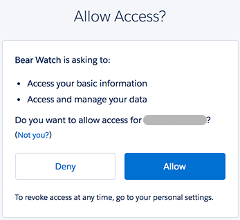 Access authorization prompt for the Bear Watch application