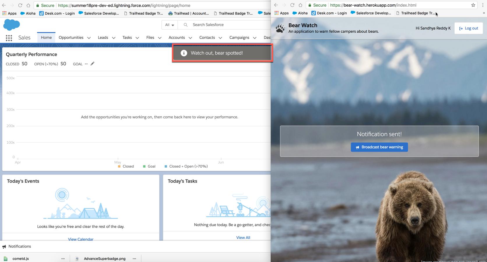 Bear Watch Heroku アプリケーションから通知が送信され、Salesforce の通知コンソールで受信されていることを示す画像