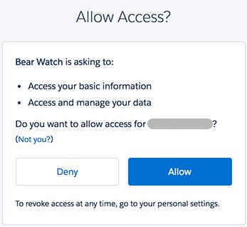 Bear Watch アプリケーションへのアクセス許可プロンプト