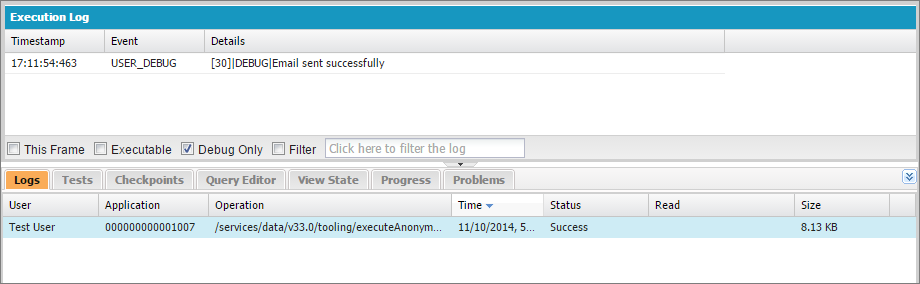 Filter the debug log in the Developer Console to view debug messages