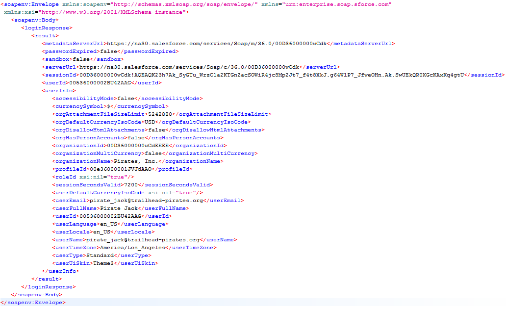 SOAP API login response