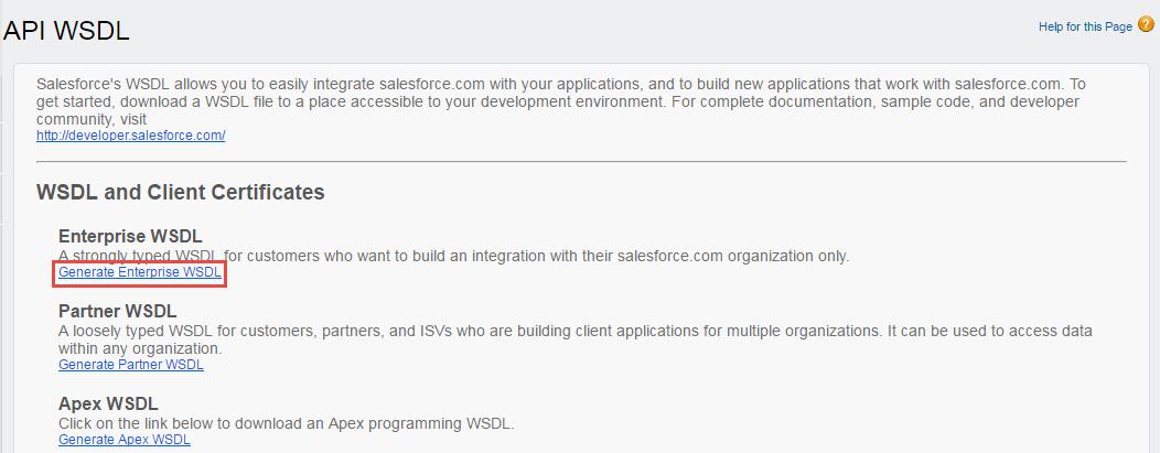 Generate enterprise WSDL