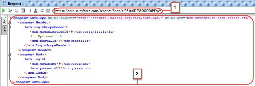 Sample SOAP login request