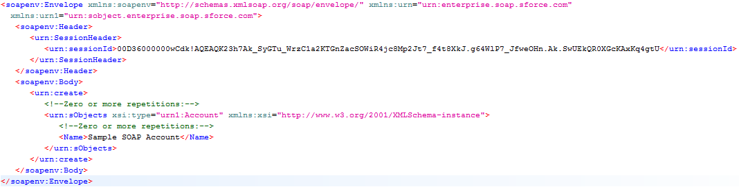 Create() request with extraneous elements removed