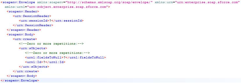 Sample create() request in SoapUI