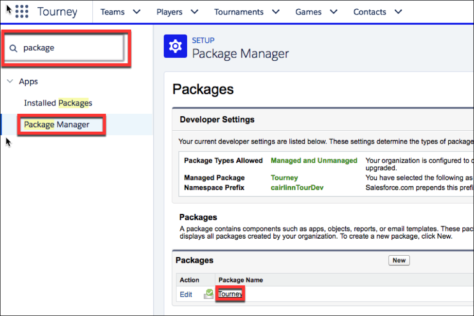 The      Package Manager page, where you select your package.