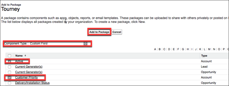 The bottom of the Package Detail page, where you add custom components      and fields to your package.