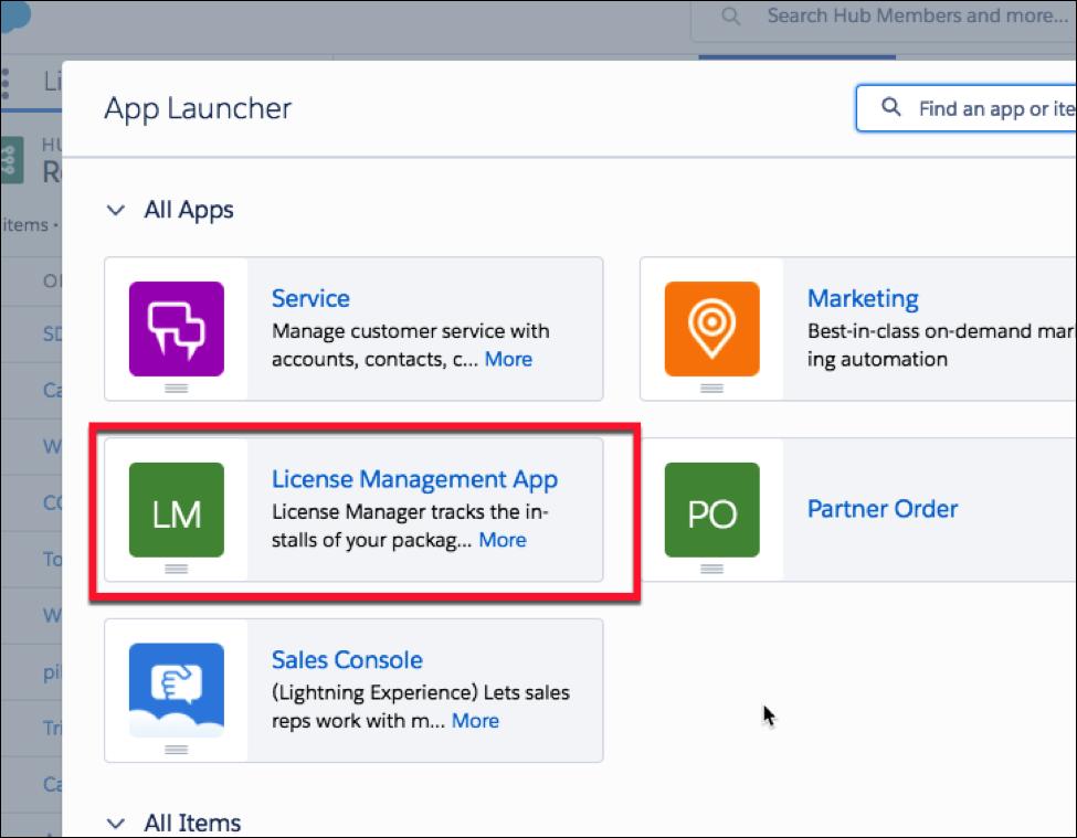 App Launcher showing LMA