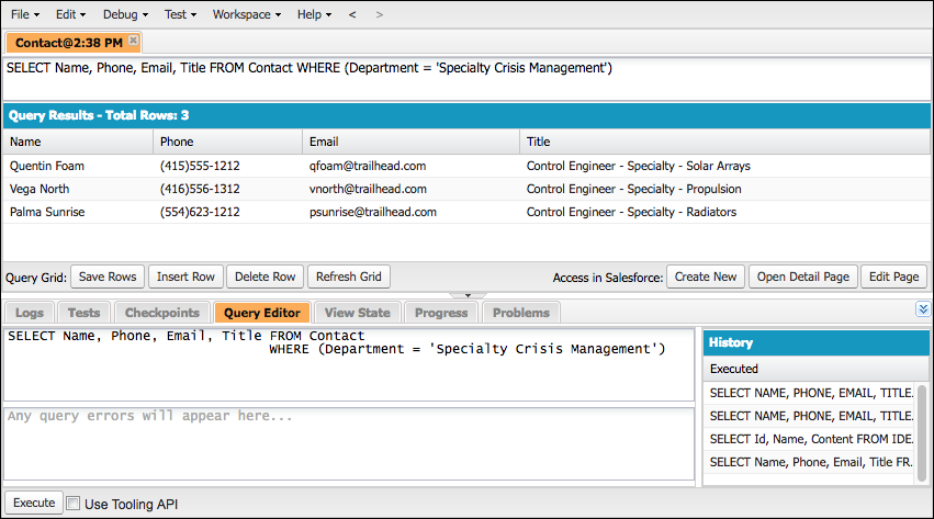 SOQL Query Results