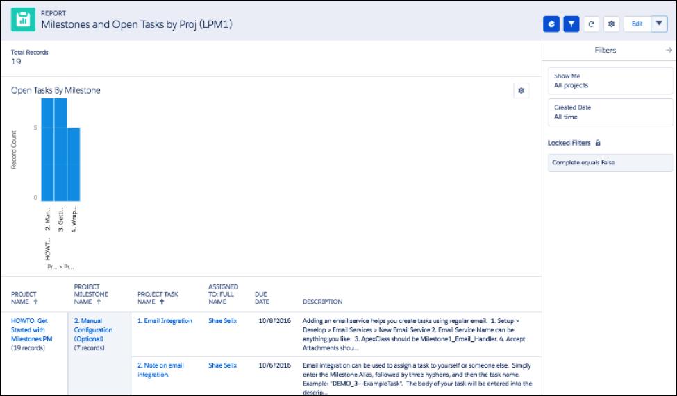 Open Tasks screen in Milestones app