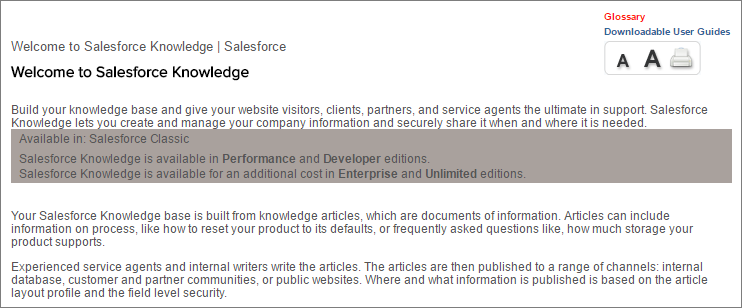 Help page showing Salesforce Knowledge