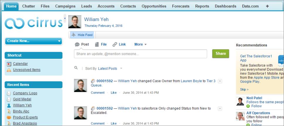 A screenshot of a Chatter
