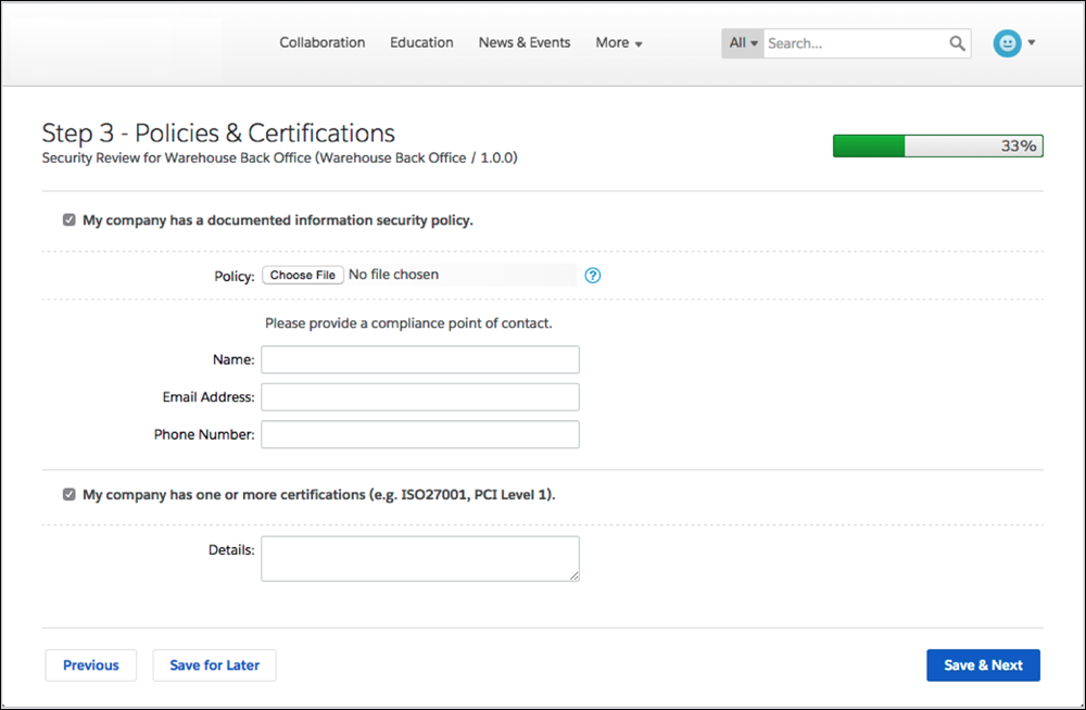 Wizard step 3 screen: policies and certifications
