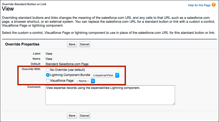 Override actions with Lightning components