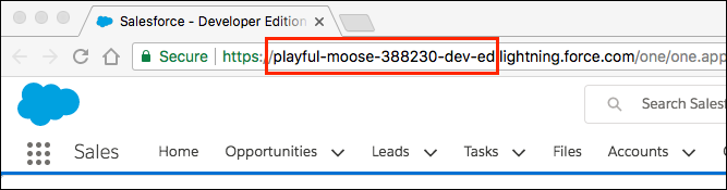 My Domain name highlighted in a Trailhead Playground URL