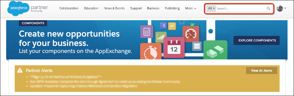 Search box on the Salesforce Partner Community