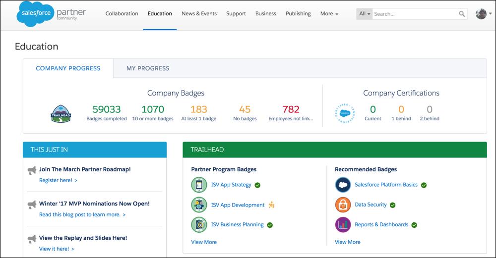 Company education tracking tab