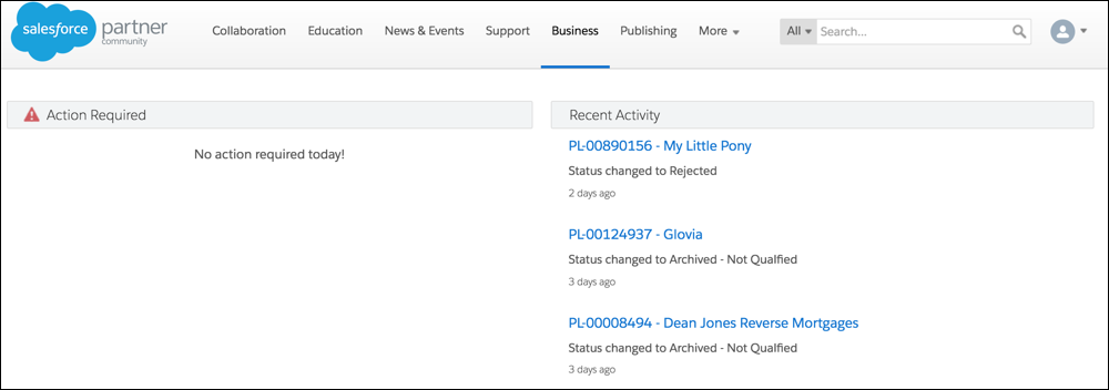 Recent Activities feed on Business tab