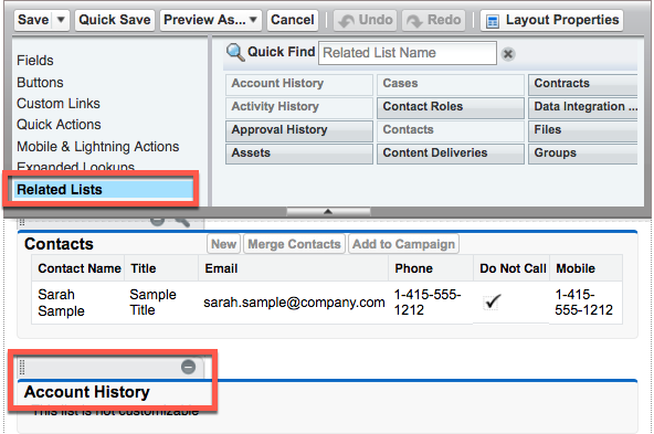 Page layout highlighting the Related List option in the palette and the Account History section below.