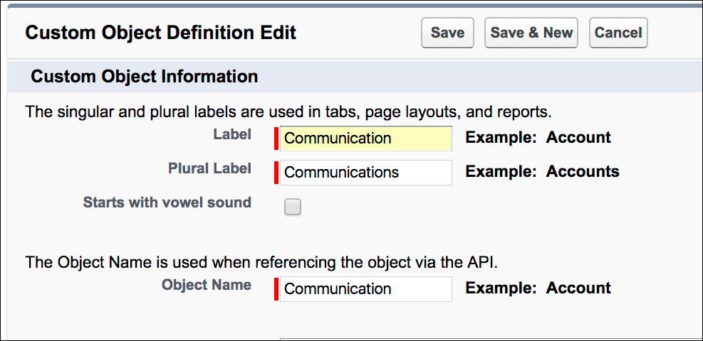 Screenshot of Custom Object Definition.