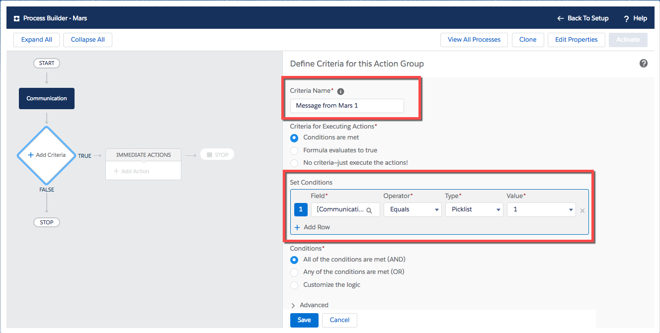 Screenshot showing adding first process criteria.
